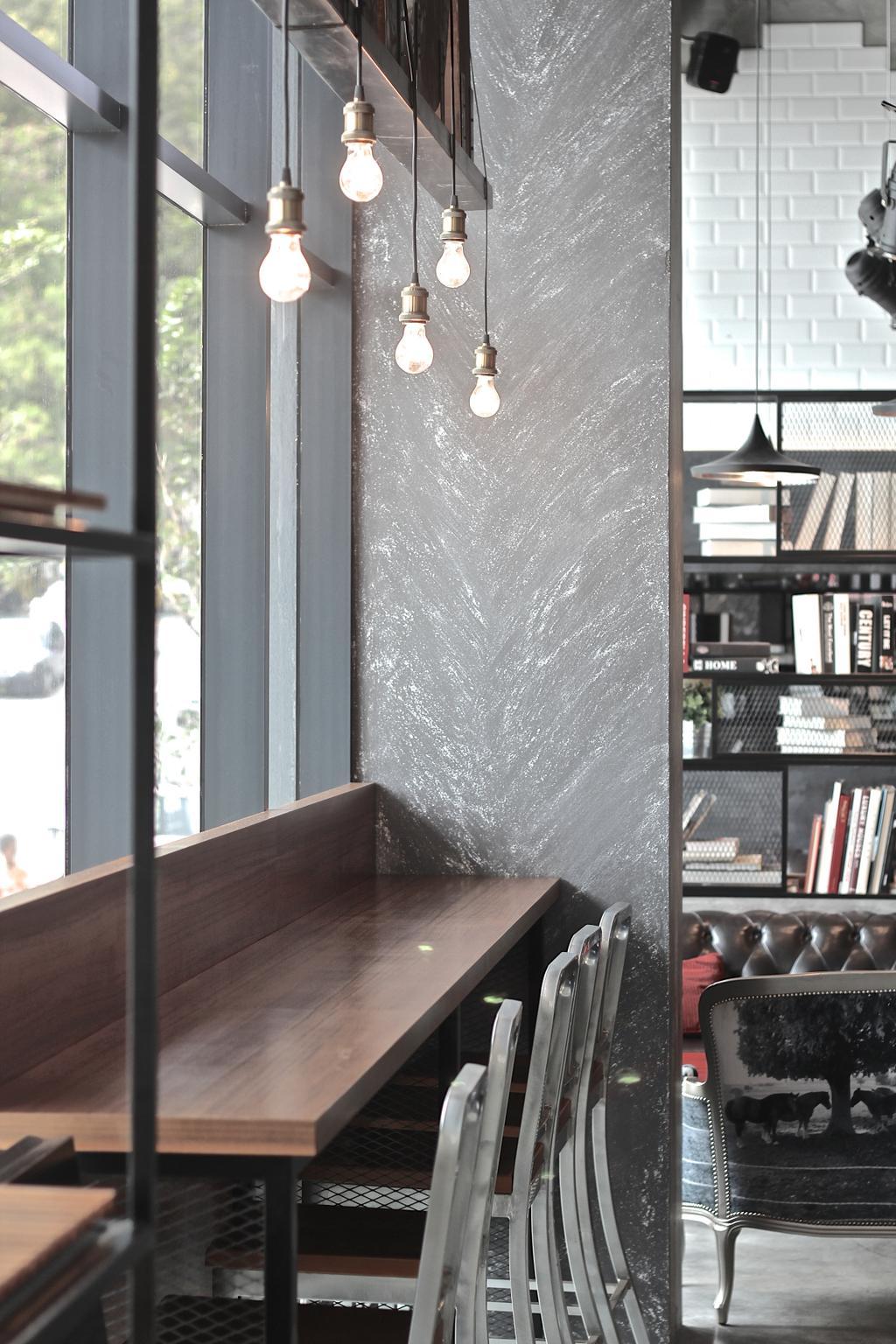 Renoma Cafe @ Ikon Connaught, Commercial, Interior Designer, MLA Design, Industrial, Countertop, Bar Top, Bar Stools, Cafe, Hanging Lamps, Pendant Lamps, Light Bulb Pendant Lamps, Light Bulb, Bookshelf, Book, Blackboard, Window