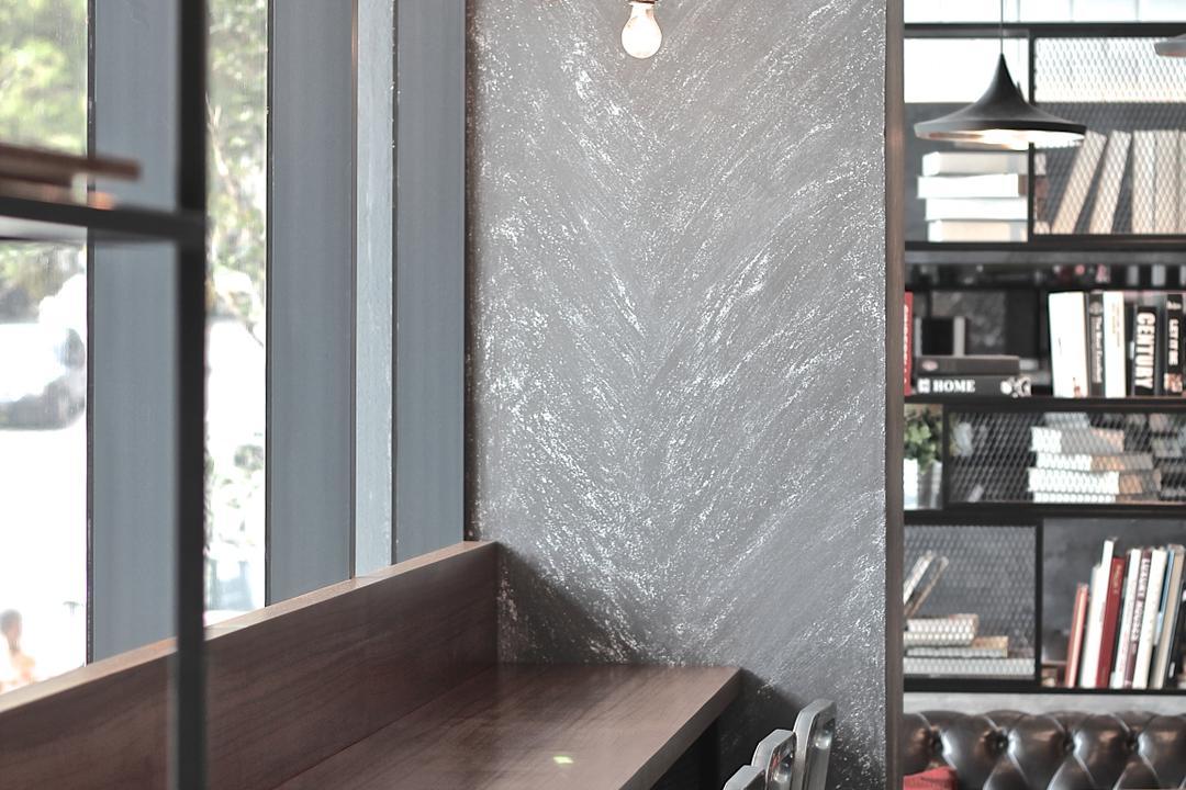 Renoma Cafe @ Ikon Connaught, MLA Design, Industrial, Commercial, Countertop, Bar Top, Bar Stools, Cafe, Hanging Lamps, Pendant Lamps, Light Bulb Pendant Lamps, Light Bulb, Bookshelf, Book, Blackboard, Window