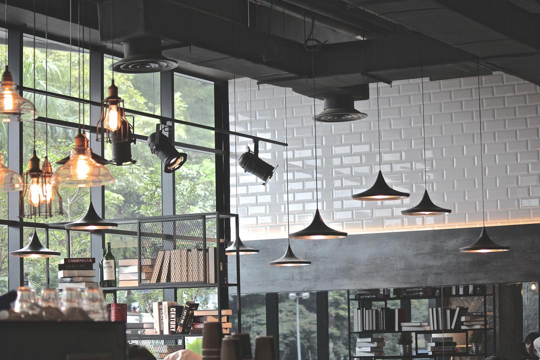 Renoma Cafe @ Ikon Connaught, MLA Design, Industrial, Commercial, Brick Walls, White Brick Walls, Hanging Lamps, Pendant Lamps, Track Lights, Exposed Ceilings, Exposed Beam Ceilings, Grey, Grey Tones, Metal Shelves, Bookshelf, Cafe, Mailbox