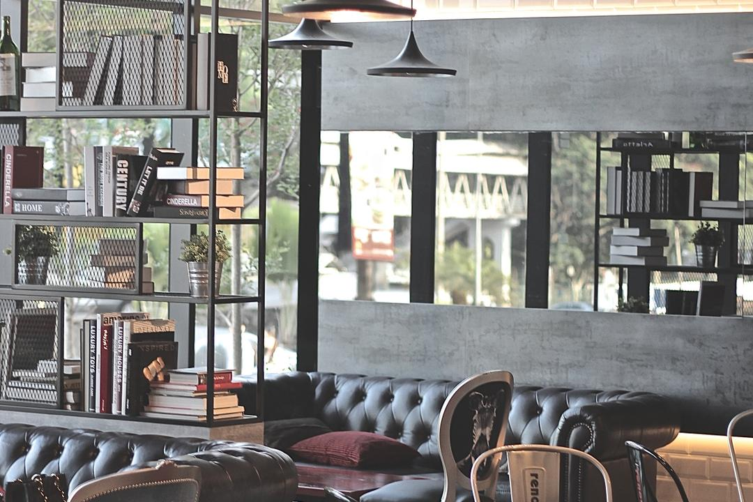 Renoma Cafe @ Ikon Connaught, MLA Design, Industrial, Commercial, Dining Table, Dining Chairs, Metal Dining Chairs, Hanging Lamps, Pendant Lamps, Track Lights, Brick Walls, White Brick Walls, Metal Shelves, Bookshelf, Sofa, Leather Sofa, Feature Wall, Mirrors, Cafe, Chair, Furniture, Restaurant, Cup