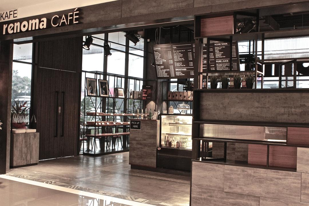 Renoma Cafe @ Ikon Connaught, MLA Design, Industrial, Commercial, Grey, Grey Tones, Track Lights, Cafe, Counter, Countertop, Metal Shelves