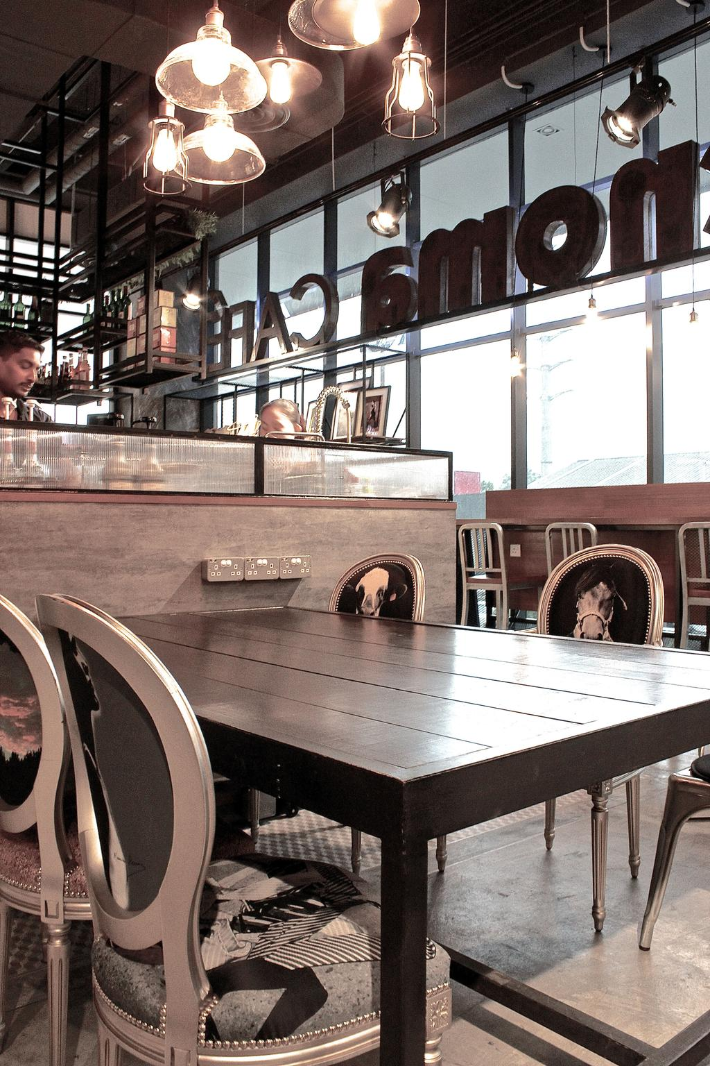 Renoma Cafe @ Ikon Connaught, Commercial, Interior Designer, MLA Design, Industrial, Dining Table, Dining Chairs, Vintage Chairs, Countertop, Hanging Lamps, Pendant Lamps, Track Lights, Dark Wood, Cafe, Bartender, Human, Person, Worker, People