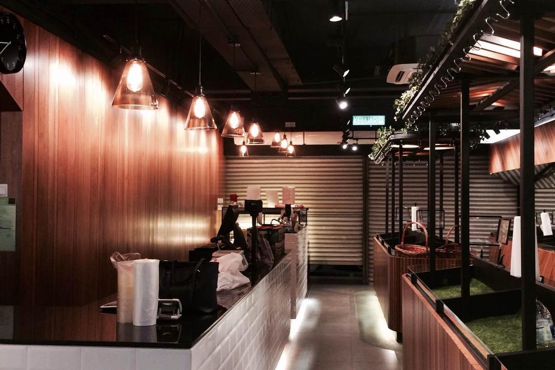 The Fruits Shop @ SS2, Petaling Jaya, MLA Design, Industrial, Commercial, Countertops, Brick Countertops, Solid Countertops, Salad Bar, Curved Counter, Curved Countertop, Wooden Panelling, Wooden Beams, Pendant Lamps, Hanging Lamps, Track Lights, Cup