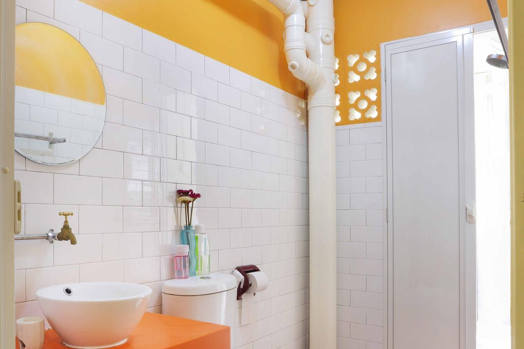 Serangoon, Ascenders Design Studio, Contemporary, Bathroom, HDB, Light Bulb, Ceiling Lighting, Orange Flooring, Square Tiles, Toilet Bowl, Orange Wall, White Tiles Wall, Sink Table, Orange, White Basin, Mirror, Round Mirror, Wall Mounted Mirror, Sink, Indoors, Interior Design, Room