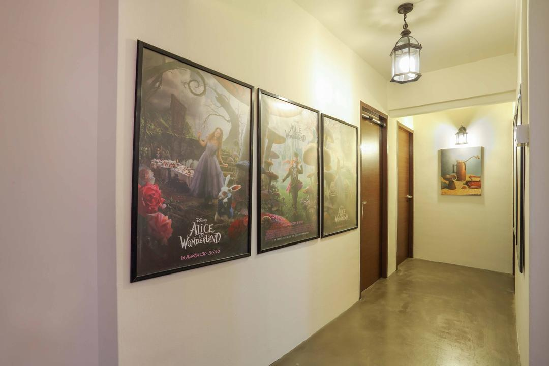 Serangoon, Ascenders Design Studio, Contemporary, HDB, Pendant Lighting, Pendant Lights, Concrete Floor, White Wall, Wall Portrait, Wooden Door, White Ceiling, Art, Art Gallery, Poster, Painting