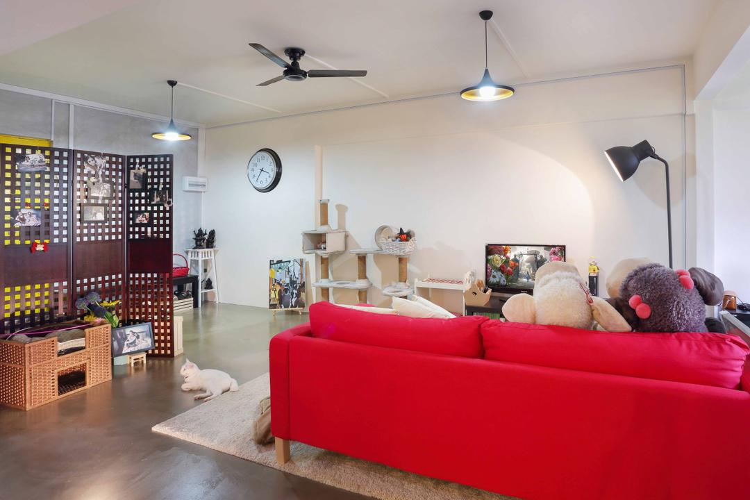 Serangoon, Ascenders Design Studio, Contemporary, Living Room, HDB, Hanging Lights, Red Sofa, Sofa, Concrete Floor, Rug, Ceiling Fan, White Walls, Partition, Wooden Partition, Wooden Crate, Floor Lamp, Couch, Furniture, Teddy Bear, Toy
