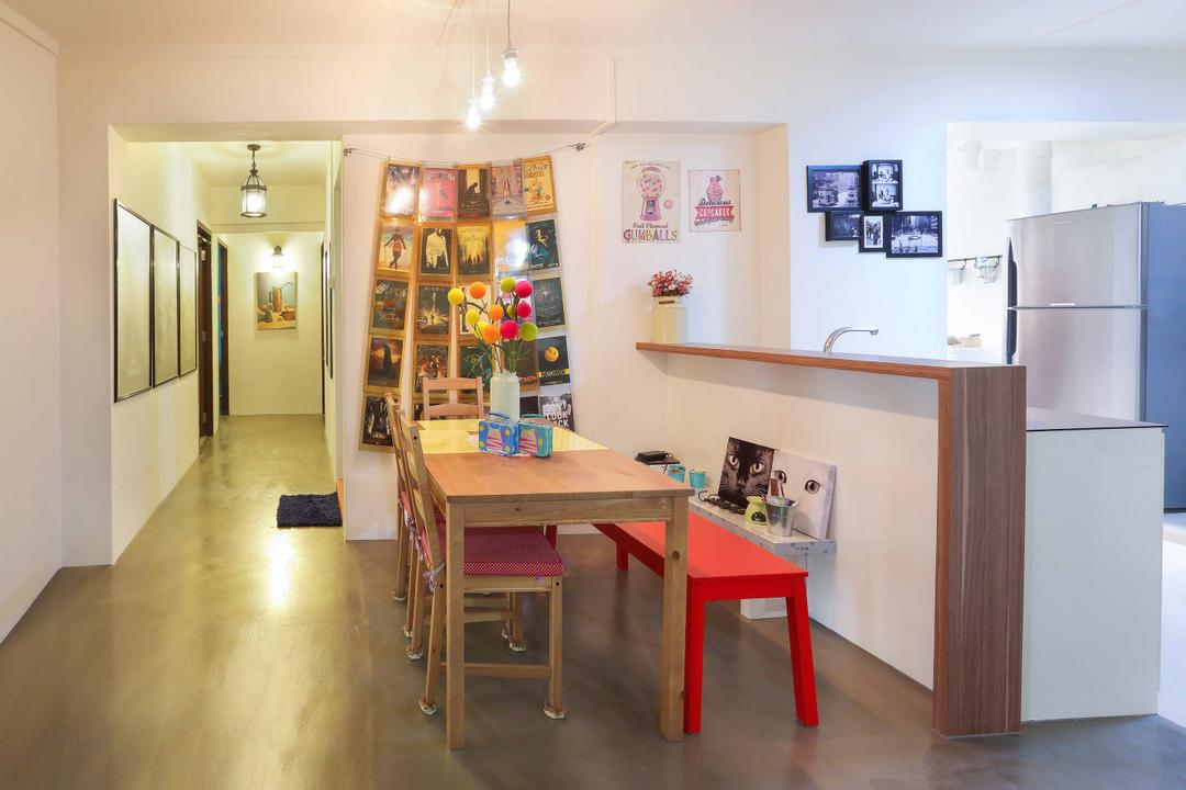 Serangoon, Ascenders Design Studio, Contemporary, Dining Room, HDB, Red Bench, Wooden Dining Table, Wooden Table, Concrete Floor, White Walls, Hanging Lights, Wooden Counter, Wooden Chairs, Dining Chairs, Dining Table
