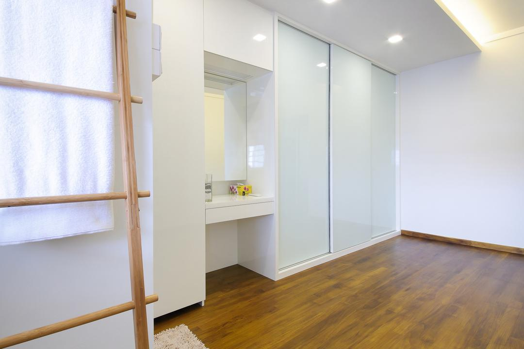 Tampines, Ascenders Design Studio, Scandinavian, HDB, False Ceiling, Recessed Lighting, Concealed Lighting, Concealed Lights, Wooden Flooring, Brown Flooring, Laminated Flooring, Wooden Ladder, Rug, White Shelf, Flooring, Floor
