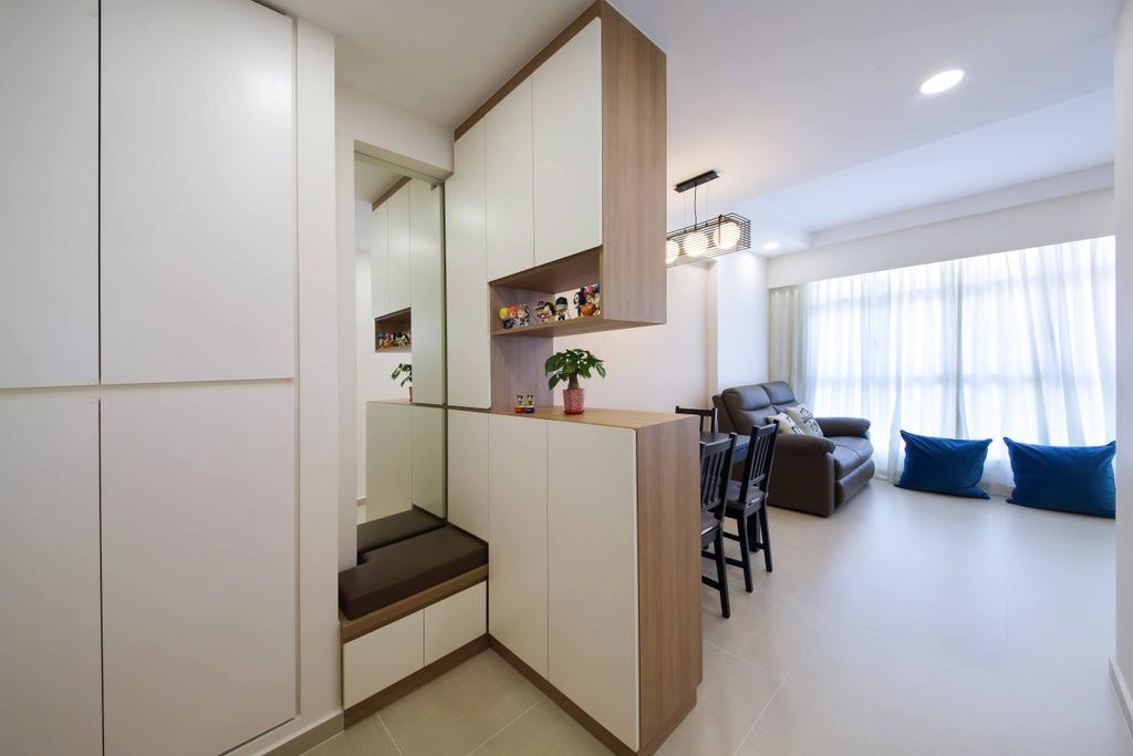 Scandinavian, HDB, Living Room, Tiong Bahru, Interior Designer, Ascenders Design Studio, Recessed Lighting, Cushions, Curtains, White Ceiling, Wooden Partition, Potted Plant, Sofa Chair, White Cabinets, Couch, Furniture, Building, Housing, Indoors, Dining Table, Table