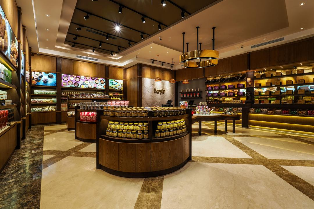 Beryl's Chocolate at Design Village, Archiplan Interior Design, Modern, Industrial, Commercial, Lighting, Bar Counter, Pub