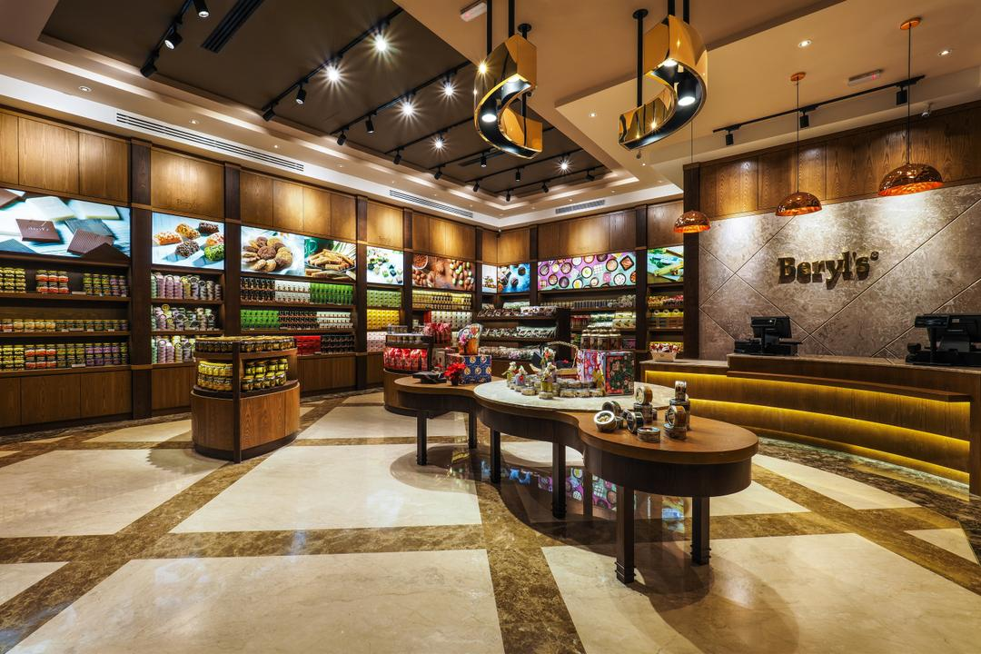Beryl's Chocolate at Design Village, Archiplan Interior Design, Modern, Industrial, Commercial, Grocery Store, Shop, Light Fixture, Food, Food Court, Restaurant