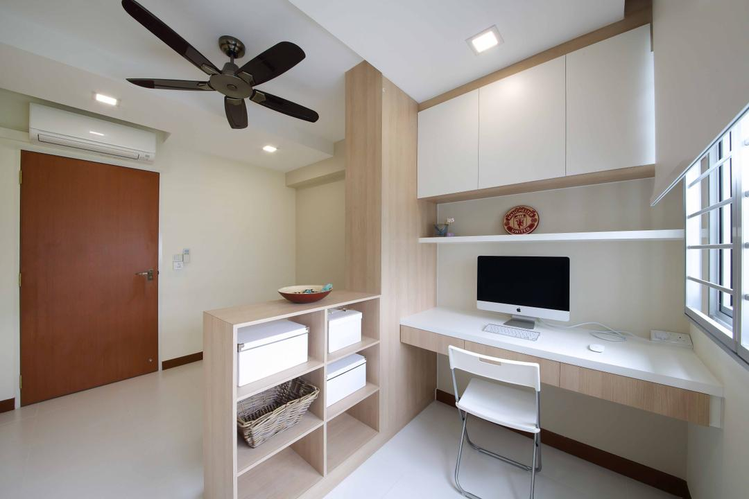 Woodlands Crescent, Ascenders Design Studio, Modern, Study, HDB, Recessed Lighting, Recessed Lights, White Cabinets, Wall Mounted Cabinets, Wall Mounted Desk, Study Desk, Study Chair, White Chair, Wooden Door, Black Ceiling Fan, Wooden Shelf, Bookshelf, Open Shelf, White Blinds, Wooden Partition, Desk, Furniture, Table