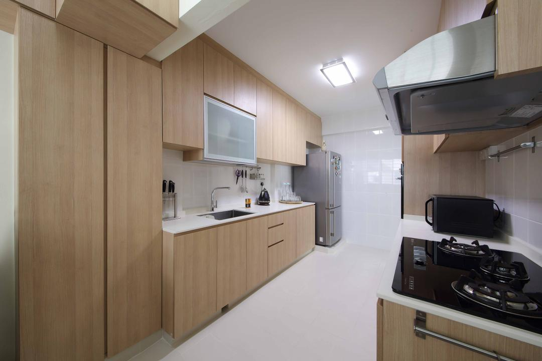 Woodlands Crescent, Ascenders Design Studio, Modern, Kitchen, HDB, Ceiling Lighting, White Flooring, Laminated Cabinets, Laminated Drawers, Wooden Cabinets, Indoors, Interior Design, Room, Appliance, Electrical Device, Oven, Stove
