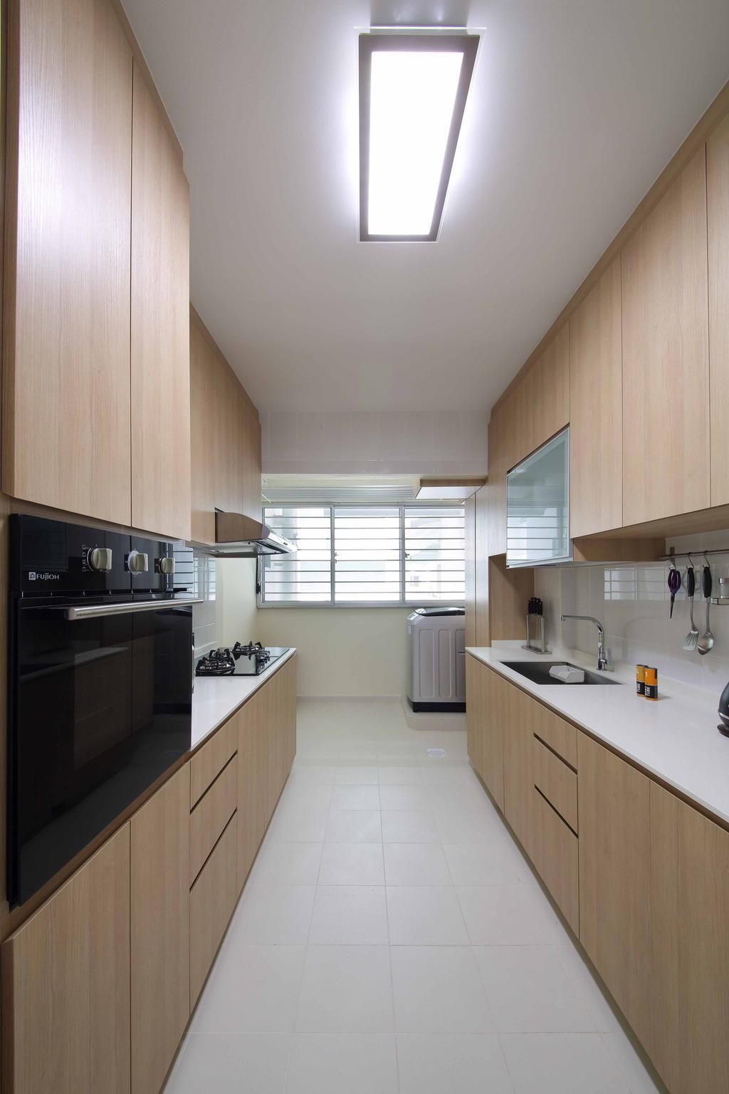 Modern, HDB, Kitchen, Woodlands Crescent, Interior Designer, Ascenders Design Studio, Ceiling Lighting, Laminated Cabinets, Wooden Cabinets, Laminated Drawers, Appliance, Electrical Device, Oven, Indoors, Interior Design, Room