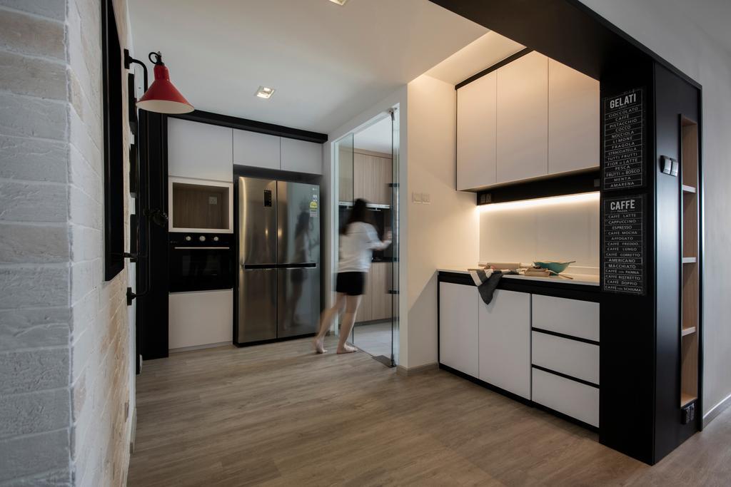 Minimalist, HDB, Kitchen, Pipit Road, Interior Designer, KDOT, Dry Kitchen, Open Kitchen, Wet And Dry Kitchen, Appliance, Electrical Device, Fridge, Refrigerator, Floor