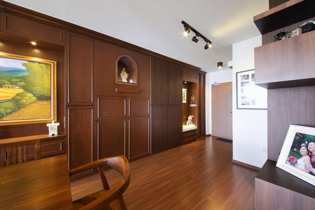 Yishun, Ascenders Design Studio, Traditional, Dining Room, HDB, Track Lighting, Track Lights, Wooden Flooring, Wooden Cabinets, Wooden Shelves, Wall Portrait, Wooden Table, Dining Table, Dining Chairs, Wooden Chairs, Art, Painting, Indoors, Interior Design, Chair, Furniture