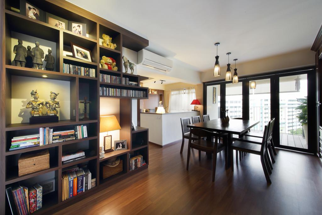 Traditional, HDB, Dining Room, Yishun, Interior Designer, Ascenders Design Studio, Hanging Lights, Hanging Lighting, Wooden Flooring, Brown Flooring, Open Shelf, Shelves, Dining Table, Dining Chairs, Furniture, Table, Bookcase, Indoors, Interior Design, Room, Chair, Shelf