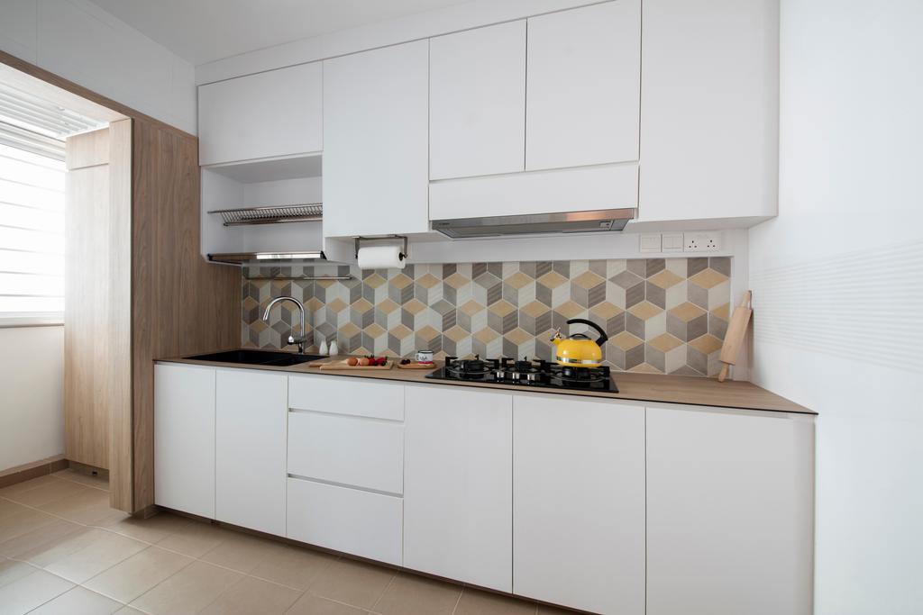 Scandinavian, HDB, Kitchen, Telok Blangah Heights, Interior Designer, KDOT, Tile, Furniture, Sideboard, Indoors, Interior Design, Room