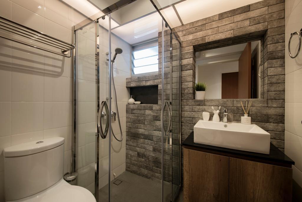 Scandinavian, HDB, Telok Blangah Heights, Interior Designer, KDOT, Bathroom, Indoors, Interior Design, Room