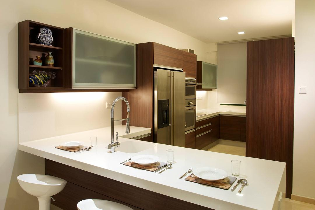 Paya Lebar Road, Spire Id, Modern, Kitchen, Landed, Recessed Lighting, Recessed Lights, White Kitchen Counter, Wall Mounted Shelf, Open Shelf, Bar Stool, White Bar Stool, White Chair, Bathroom, Indoors, Interior Design, Room, Dining Table, Furniture, Table