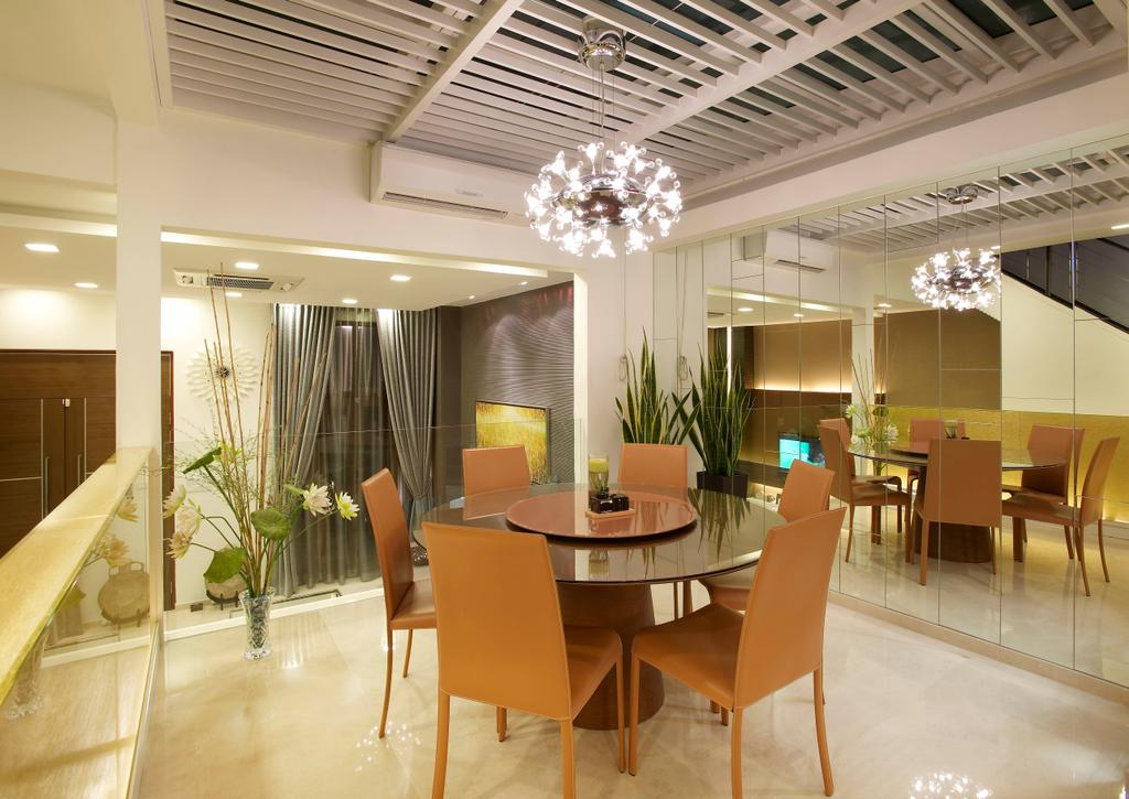 Modern, Landed, Dining Room, Paya Lebar Road, Interior Designer, Spire Id, Hanging Light, Hanging Lighting, Ceiling Beams, Dining Table, Dining Chairs, Mirror, Full Length Mirror, Chandelier, Flora, Jar, Plant, Potted Plant, Pottery, Vase, Chair, Furniture, Indoors, Interior Design, Room, Table