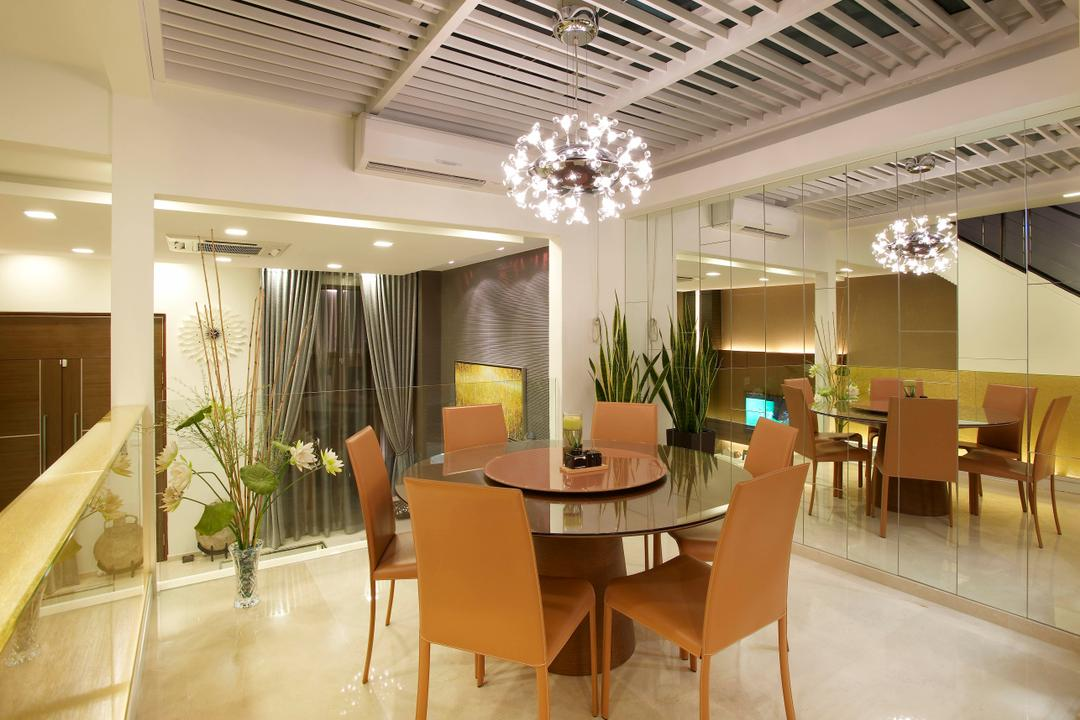 Paya Lebar Road, Spire Id, Modern, Dining Room, Landed, Hanging Light, Hanging Lighting, Ceiling Beams, Dining Table, Dining Chairs, Mirror, Full Length Mirror, Chandelier, Flora, Jar, Plant, Potted Plant, Pottery, Vase, Chair, Furniture, Indoors, Interior Design, Room, Table