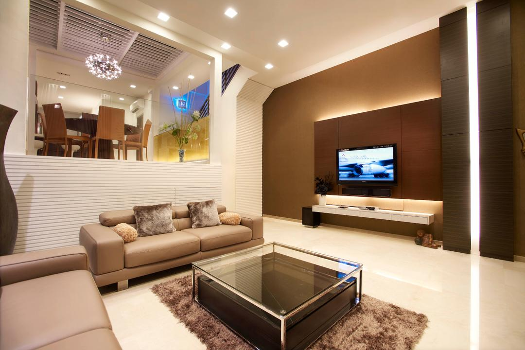 Paya Lebar Road, Spire Id, Modern, Living Room, Landed, Recessed Lighting, Recessed Lights, Concealed Lighting, Concealed Lights, Feature Wall, Brown Wall, Flatscreen Tv, Wall Mounted Tv, Wall Tv, Tv Console, White Flooring, Coffee Table, Rug, Fur Rug, Sofa, Leather Sofa, Glass Wall, Wall Mounted Television, Floating Television Console, Hidden Interior Lighting, Indoors, Interior Design, Lobby, Room, Furniture, Electronics, Entertainment Center, Home Theater