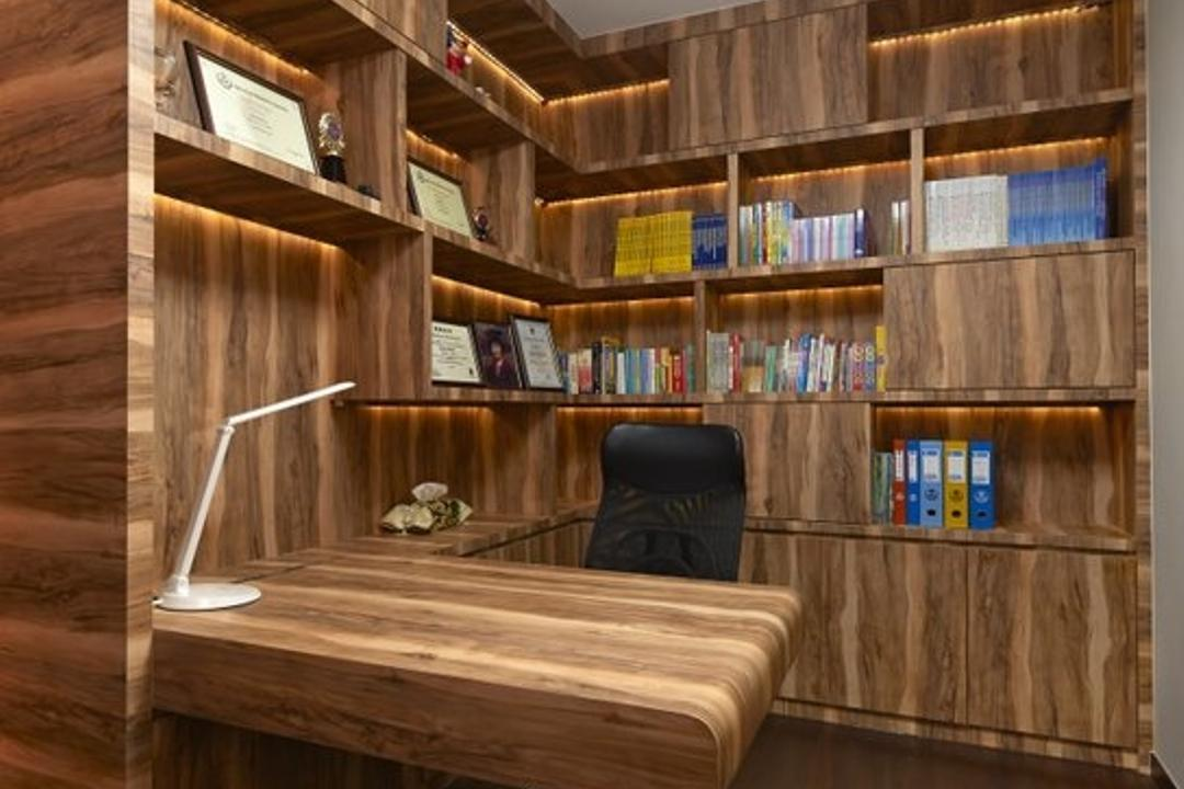 Jalan Bahar, Spire Id, Modern, Study, Landed, Wooden Shelves, Concealed Lighting, Shelf Lighting, Brown Flooring, Brown Shelves, Open Shelves, Desk Lamp, Desk Lighting, Black Chair, Swivel Chair, Wall Mounted Table, Wall Mounted Desk, Couch, Furniture, Bookcase, Lumber, Wood
