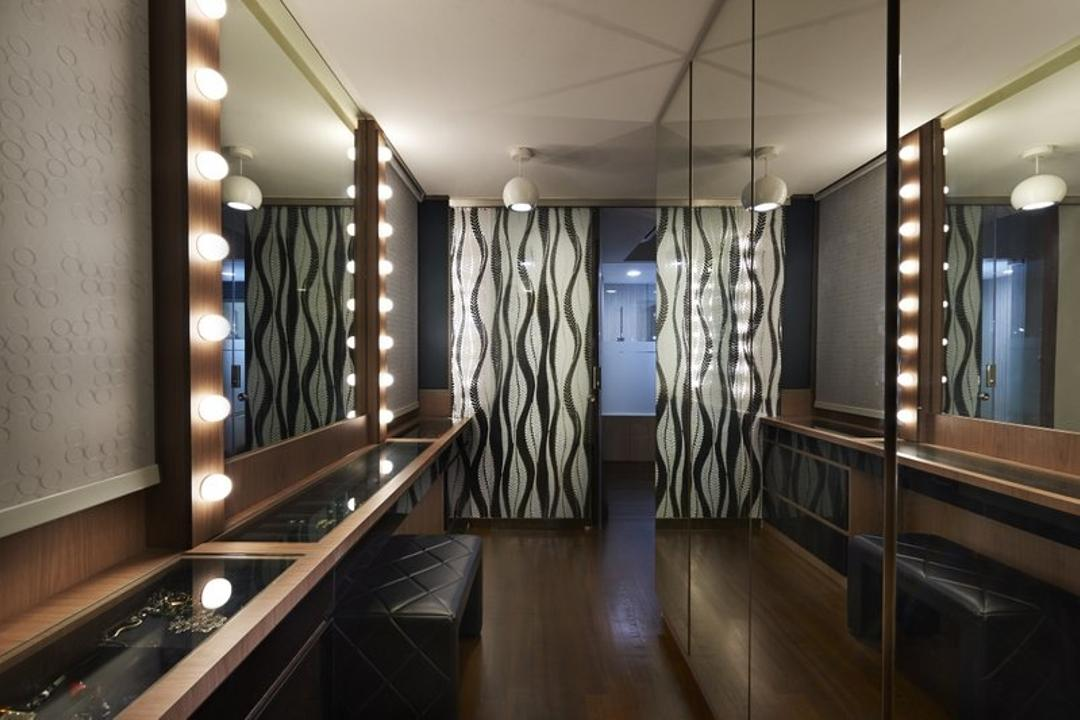Jalan Bahar, Spire Id, Modern, Landed, Full Length Mirror, Mirror, Wooden Flooring, Brown Flooring, Mirror Lighting, Display Case, Classy, Bathroom, Indoors, Interior Design, Room, Corridor, Flooring