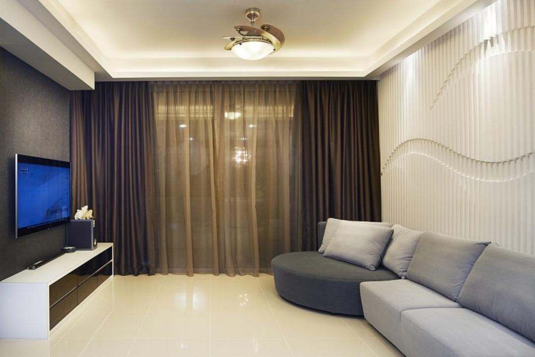 Jalan Bahar, Spire Id, Modern, Living Room, Landed, Ceiling Lighting, Ceiling Lights, White Walls, Feature Walls, Curtains, Double Layer Curtains, Grey Sofa, Gray Sofa, Sofa, Flatscreen Tv, Wall Mounted Tv, Wall Tv, Tv Shelf, Tv Console, Coffered Ceiling, Slingcurtains, Wall Mounted Television, Television Console, Couch, Furniture, Indoors, Room, Interior Design