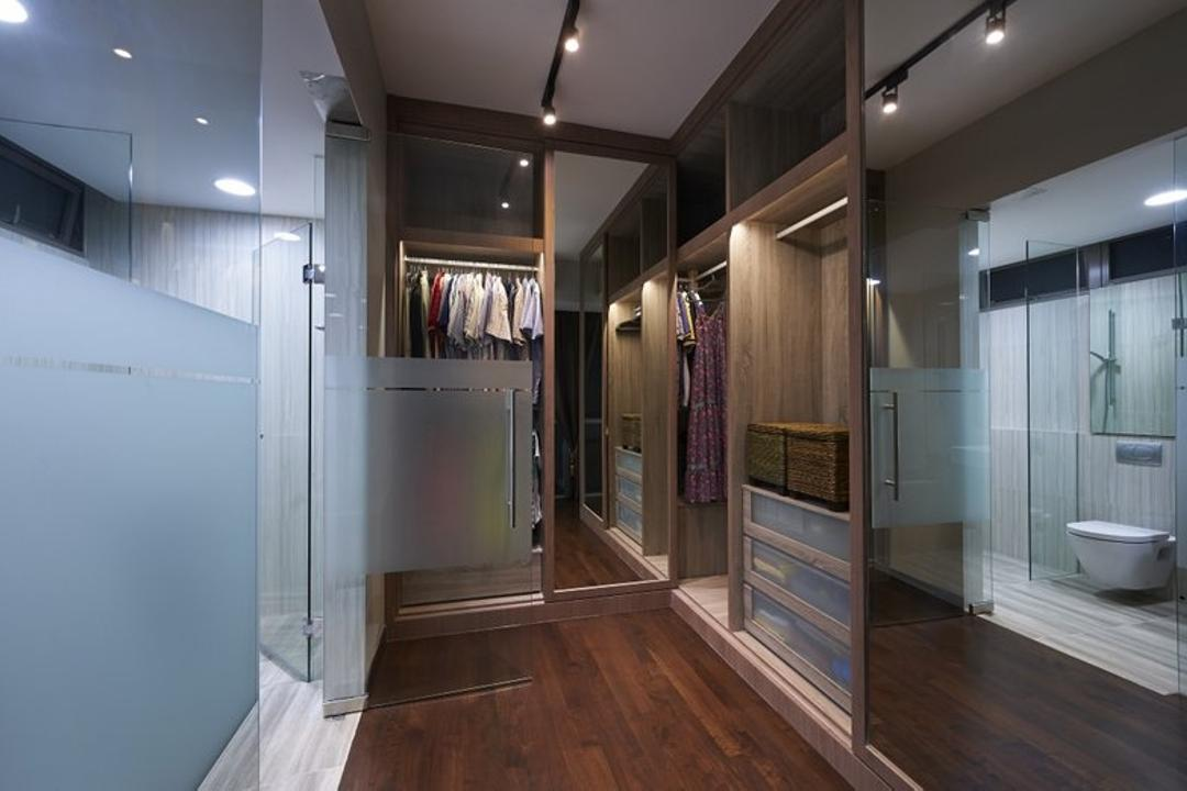 Jalan Bahar, Spire Id, Modern, Landed, Wooden Flooring, Brown Flooring, Track Lighting, Trackie, Laminated Floor, Glass Doors, Wardrobe, Walk In Wardrobe, Walkin Wardrobe, Toilet, Appliance, Dishwasher, Electrical Device, Corridor