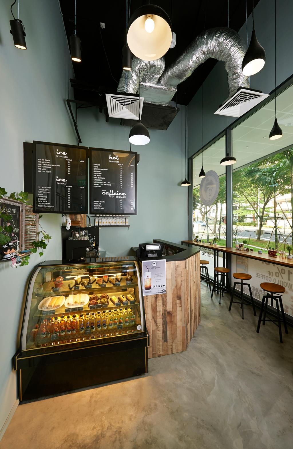 Doi Chaang Cafe, Commercial, Interior Designer, Spire Id, Industrial, Pendant Lighting, Pendant Lights, Concrete Floor, Display Counter, Wall Mounted Menu, Laminated Counter, High Chair, High Table, High Window, Human, People, Person, Bakery, Shop, Deli, Food