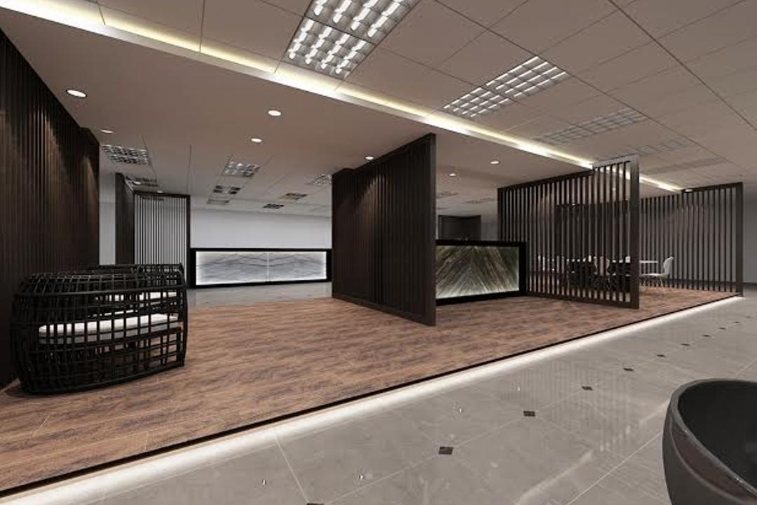 Sungei Kadut, Spire Id, Modern, Commercial, Ceiling Lighting, Concealed Lighting, Wooden Flooring, Wooden Platform, Partition, Black Partition, Partition Wall, Auditorium, Hall, Indoors, Interior Design, Room, Theater
