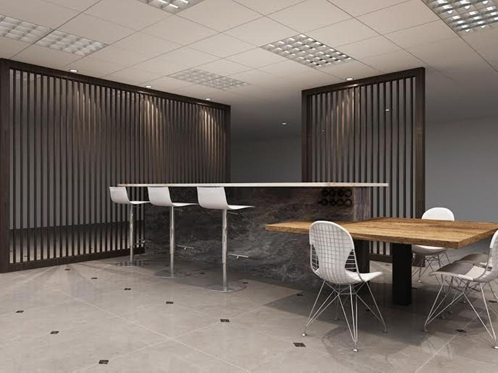 Sungei Kadut, Commercial, Interior Designer, Spire Id, Modern, Ceiling Lights, Ceiling Lighting, Partition, Partition Wall, High Table, High Chair, Wooden Table, White Chairs, Chair, Furniture, Dining Table, Table