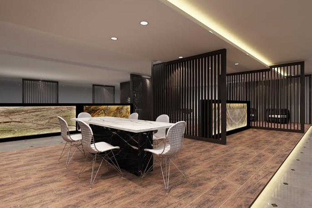 Sungei Kadut, Spire Id, Modern, Commercial, Concealed Lighting, Concealed Lights, False Ceiling, Recessed Lighting, Partition Wall, Black Partition, White Table, White Chairs, Wooden Platform, Laminated Floor, Wooden Flooring, Open Space Concept, Chair, Furniture, Crib, Indoors, Room