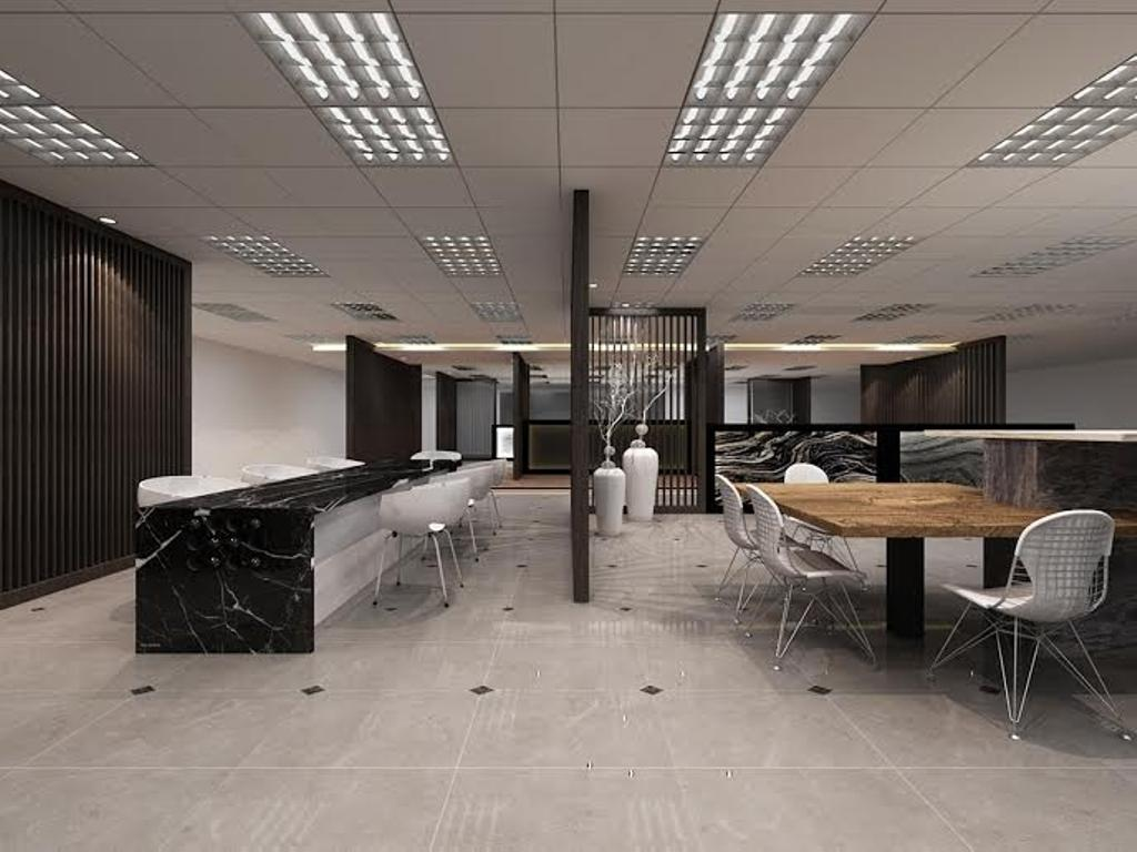 Sungei Kadut, Commercial, Interior Designer, Spire Id, Modern, Ceiling Lighting, Ceiling Lights, Black Partition, Partition Wall, Wooden Table, White Chairs, Dining Table, Furniture, Table