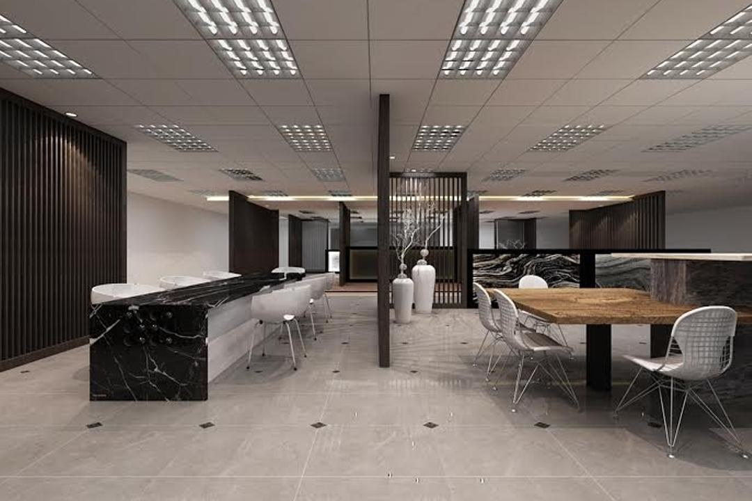 Sungei Kadut, Spire Id, Modern, Commercial, Ceiling Lighting, Ceiling Lights, Black Partition, Partition Wall, Wooden Table, White Chairs, Dining Table, Furniture, Table