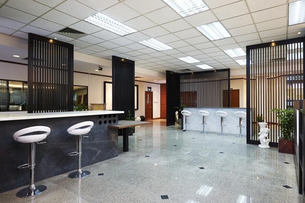 Sungei Kadut, Commercial, Interior Designer, Spire Id, Modern, Ceiling Lighting, Partition Wall, High Chair, Bar Stool, White Bar Stool, Furniture
