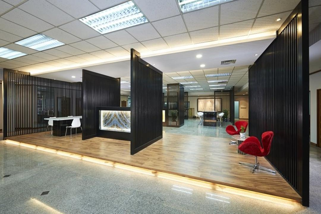 Sungei Kadut, Spire Id, Modern, Commercial, Black Partition, Partition Wall, Ceiling Lighting, Ceiling Lights, Wooden Platform, Wooden Flooring, Laminated Floor, Concealed Lighting, Concealed Lights, Red Chair, Open Space Concept, Flooring