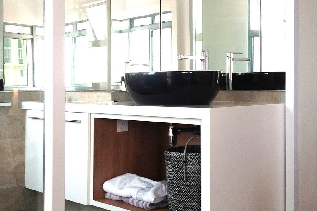 Artists Home & Studio, Lekker Architects, Contemporary, Bathroom, HDB, Mirror, Black Basin, Basin, Black Flooring, Parquet Flooring, Wall Mounted Cabinet, White Cabinet
