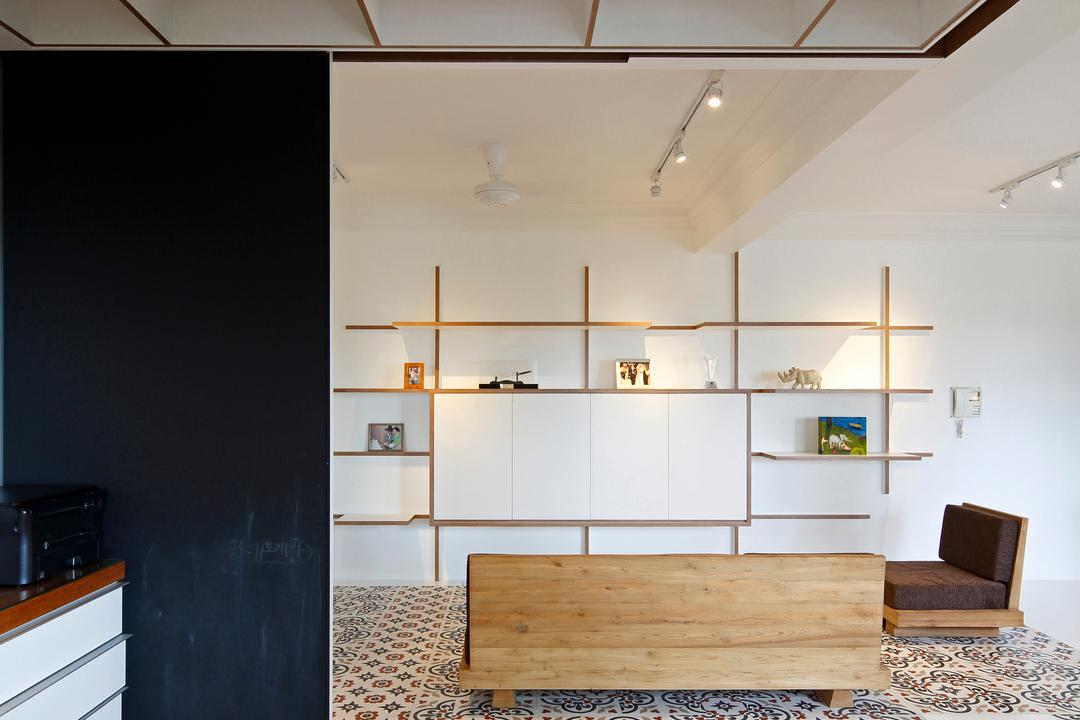 Artists Home & Studio, Lekker Architects, Contemporary, Kitchen, HDB, Wooden Flooring, Partition Wall, Designed Tiles, Wall Shelf, Open Shelf, Wooden Sofa, White Track Lighting, Track Lights, Shelf, Carpet, Home Decor, Furniture, Indoors, Interior Design