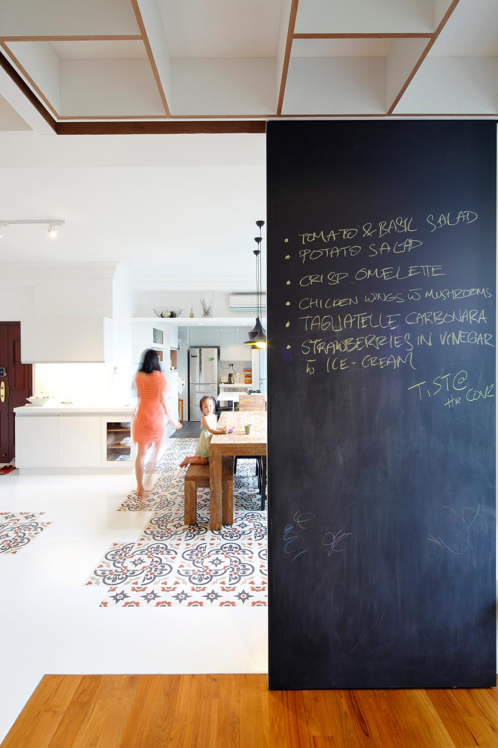 Contemporary, HDB, Artists Home & Studio, Architect, Lekker Architects, Wooden Flooring, Laminated Floor, Chalkboard Wall, Wooden Table, Wooden Dining Table, Wooden Bench, Pendant Lighting, Designed Tiles, Blackboard, Human, People, Person