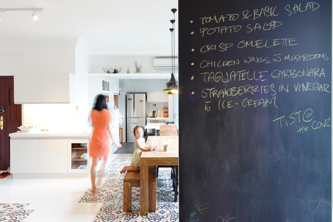 Artists Home & Studio, Lekker Architects, Contemporary, HDB, Wooden Flooring, Laminated Floor, Chalkboard Wall, Wooden Table, Wooden Dining Table, Wooden Bench, Pendant Lighting, Designed Tiles, Blackboard, Human, People, Person