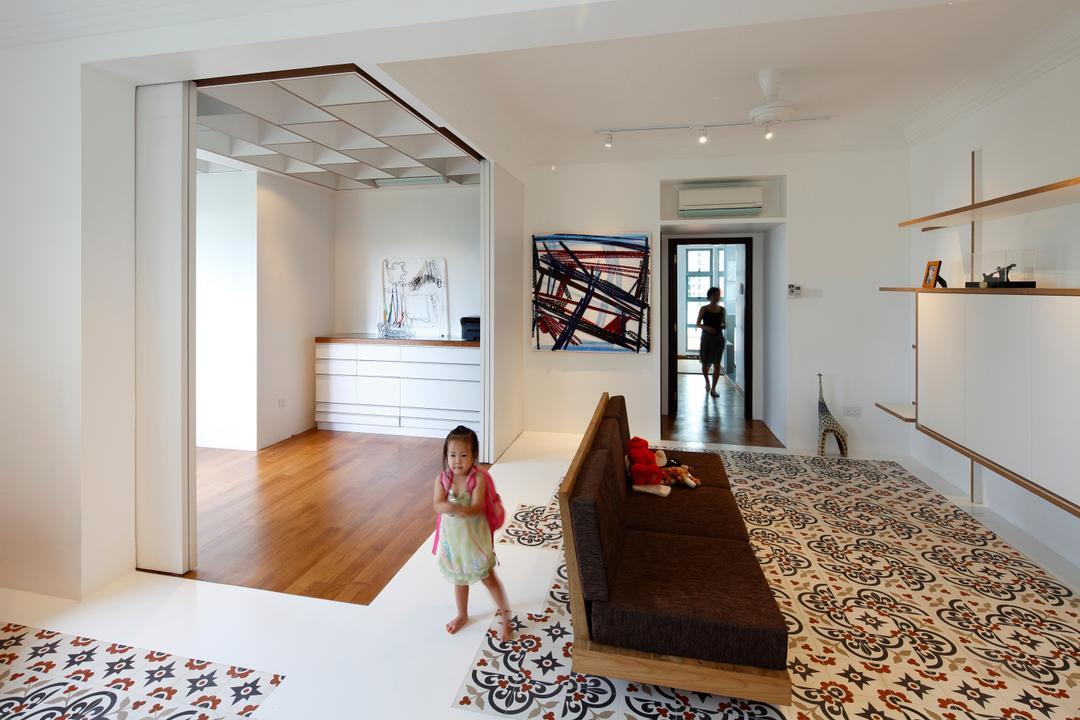 Artists Home & Studio, Lekker Architects, Contemporary, Living Room, HDB, White Ceiling, Flooring Design, Wall Shelf, Open Shelf, Track Lighting, Track Lights, Sofa, Designed Tiles, Art, Modern Art, Indoors, Interior Design