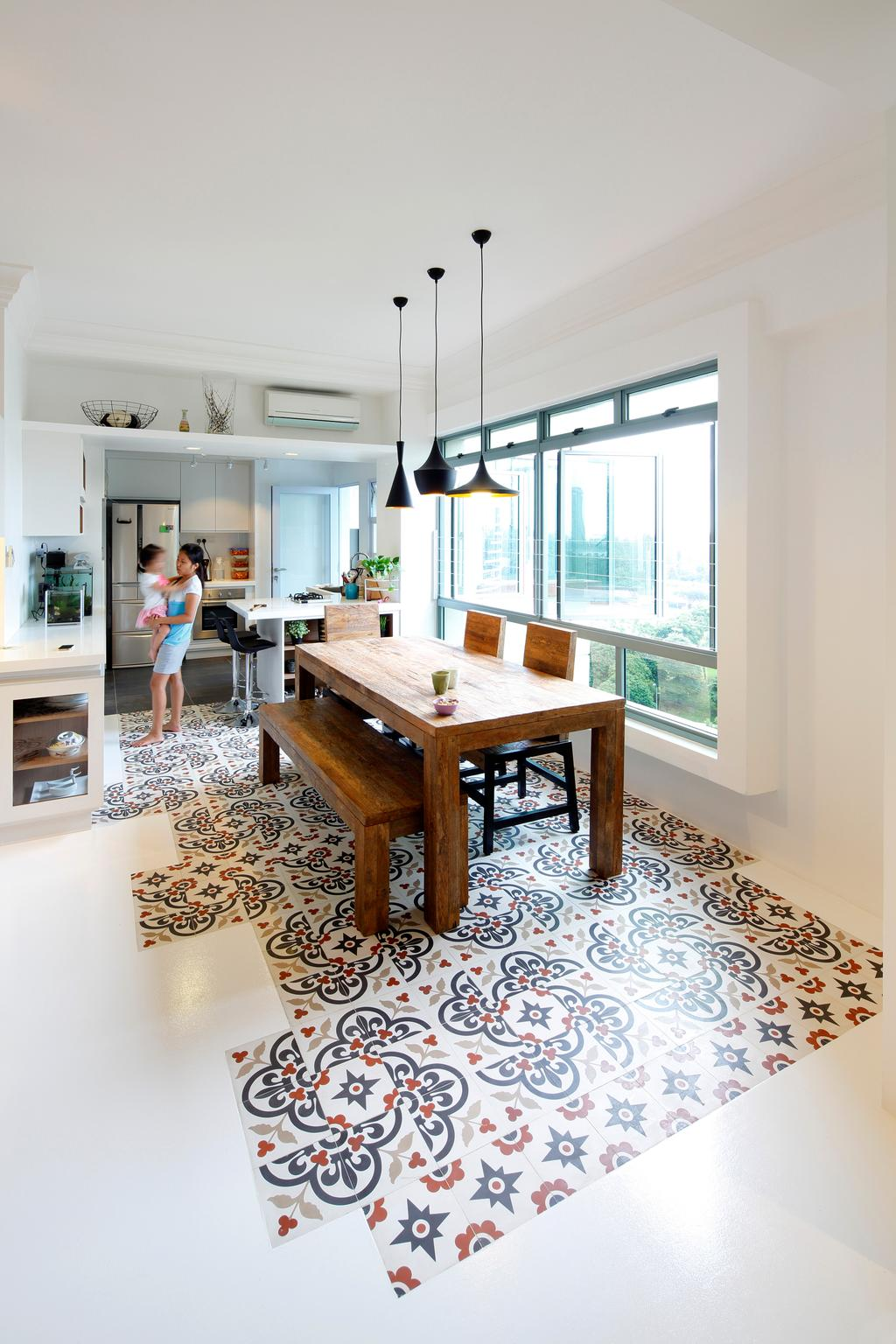 Contemporary, HDB, Dining Room, Artists Home & Studio, Architect, Lekker Architects, Pendant Lighting, Designed Tiles, Wooden Table, Wooden Bench, Dining Table, Dining Bench, Human, People, Person, Chair, Furniture, Table, Indoors, Interior Design, Room