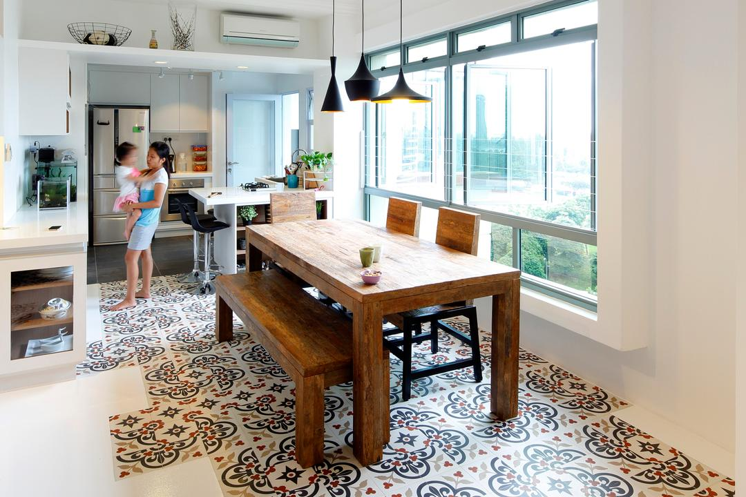Artists Home & Studio, Lekker Architects, Contemporary, Dining Room, HDB, Pendant Lighting, Designed Tiles, Wooden Table, Wooden Bench, Dining Table, Dining Bench, Human, People, Person, Chair, Furniture, Table, Indoors, Interior Design, Room
