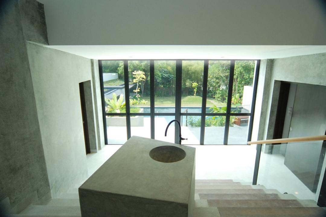 Belmont House, Lekker Architects, Modern, Landed, Stairway, Glass Barricade, Concrete Walls, Glass Walls
