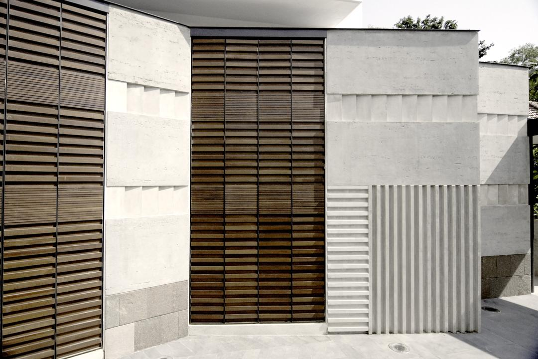 Belmont House, Lekker Architects, Modern, Landed, Exterior View, Entrance, Concrete Walls, Curtain, Home Decor, Shutter, Window, Window Shade