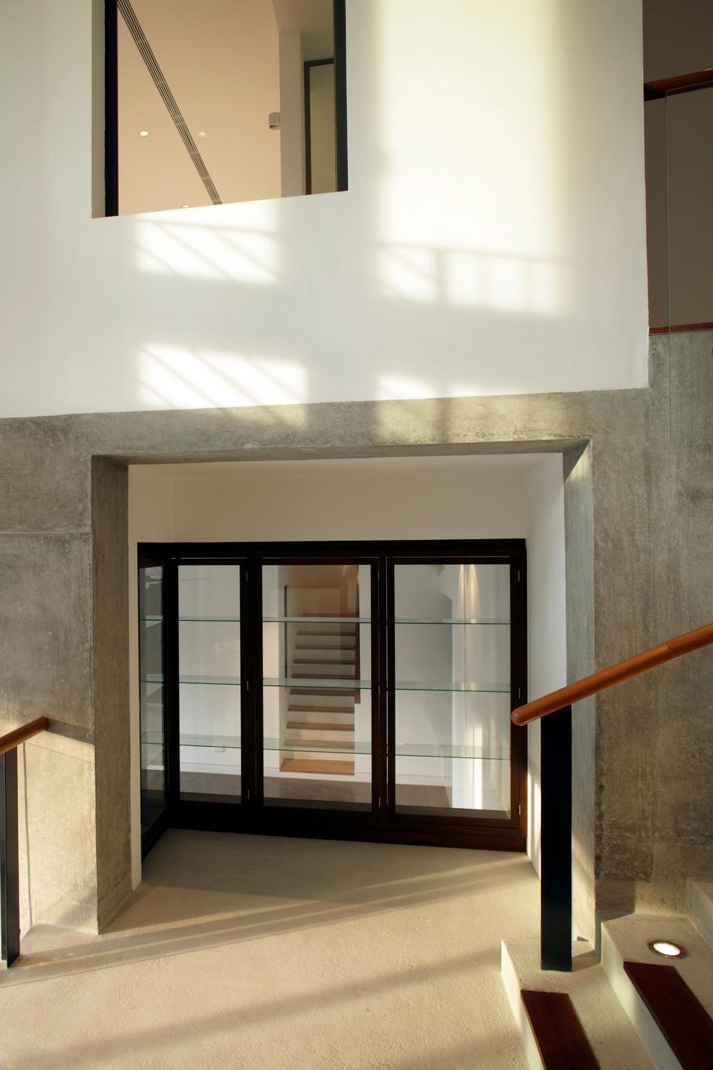 Modern, Landed, Belmont House, Architect, Lekker Architects, Concrete Walls, Transparent Doors, Glass Railing, Stairway, Banister, Handrail