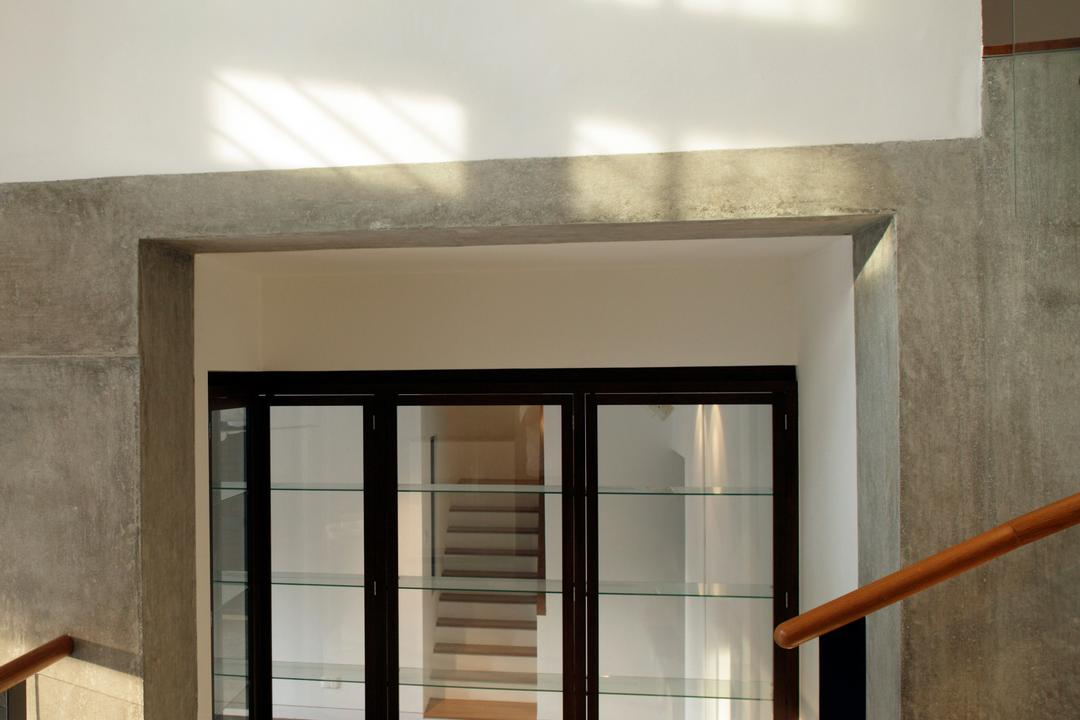 Belmont House, Lekker Architects, Modern, Landed, Concrete Walls, Transparent Doors, Glass Railing, Stairway, Banister, Handrail